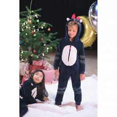 Χριστουγεννιάτικο φορμάκι-υπνόσακος σε σχήμα τάρανδου από sherpa με τυπωμένες λωρίδες