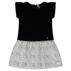Φόρεμα από δύο υλικά με βελούδο και ζακάρ φλοράλ μοτίβο