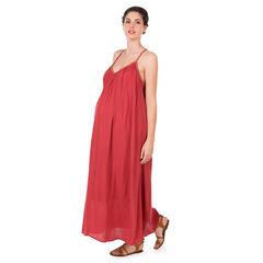 Μακρύ φόρεμα εγκυμοσύνης από κρεπ με τιράντες