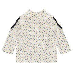 Μακρυμάνικη μπλούζα με μοτίβο σε όλη την επιφάνεια και επωμίδες