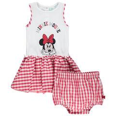 Σύνολο με φόρεμα με στάμπα Minnie και ασορτί φουφούλα σε μικρό καρό