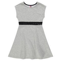 Παιδικά - Φανελένιο φόρεμα αμάνικο με λωρίδα από μαύρες πούλιες