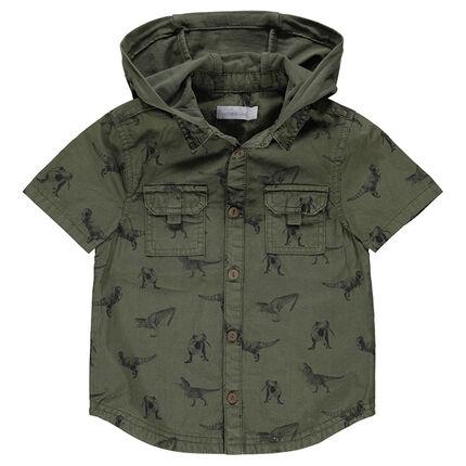 Κοντομάνικο πουκάμισο με κουκούλα και εμπριμέ μοτίβο δεινόσαυρους