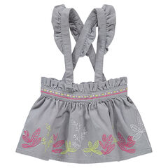 Κοντή φούστα από βελούδο κοτλέ σε ρετρό ύφος, με βολάν και κεντήματα