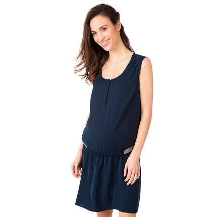 Αμάνικο φόρεμα εγκυμοσύνης με γυαλιστερό λάστιχο