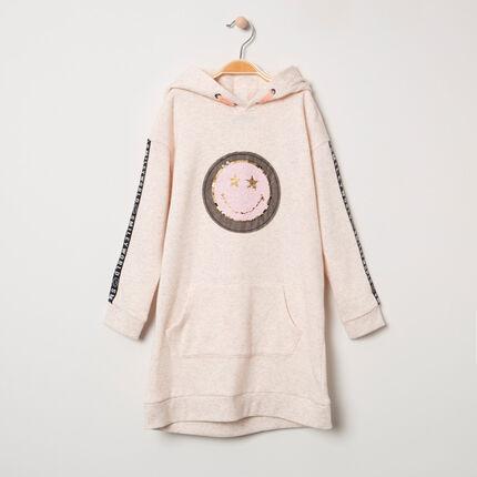 Μακρυμάνικο φόρεμα από φανέλα με μοτίβο Smiley από «μαγικές» πούλιες