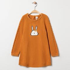 Φόρεμα πλεκτό με σχέδιο λαγουδάκι για bebe κορίτσι , Orchestra