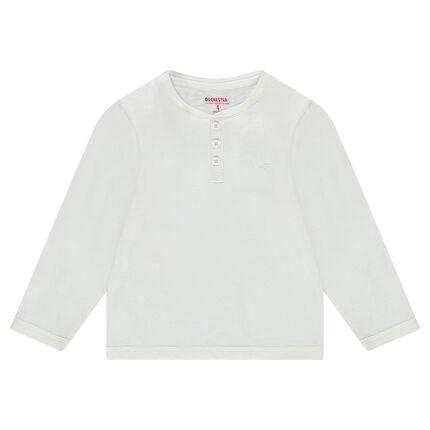 Μακρυμάνικη μπλούζα από μονόχρωμο ζέρσεϊ με άνοιγμα στη λαιμόκοψη