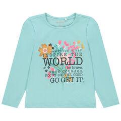 T-shirt μακρυμάνικο βαμβακερό για κόριτσι με σχέδιο φαντεζί , Orchestra