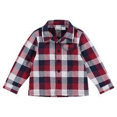 Μακρυμάνικο καρό πουκάμισο με ζέρσεϊ επένδυση