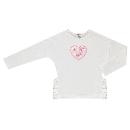 Μακρυμάνικη μπλούζα με βολάν και φουντίτσες κάτω από διχτυωτή φάσα