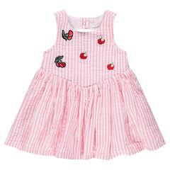Αμάνικο φόρεμα με ρίγες και διακοσμητικά σήματα