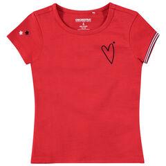 Ζέρσεϊ κοντομάνικο σε κόκκινο χρώμα με κεντημένη καρδιά και αστεράκια