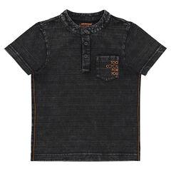 Κοντομάνικη μπλούζα με ριγέ μοτίβο και μάο γιακά