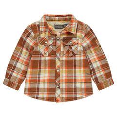 Καρό πουκάμισο με επένδυση από sherpa και τσέπες