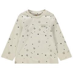Μακρυμάνικη μπλούζα ζέρσεϊ με μοτίβο σε όλη την επιφάνεια Smiley