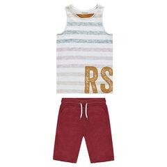 Παιδικά - Σύνολο με ριγέ αμάνικο μπλουζάκι και φανελένια βερμούδα