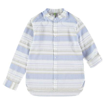 Παιδικά - Μακρυμάνικο καρό πουκάμισο με ρίγες σε αντίθεση