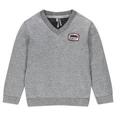 Πλεκτό πουλόβερ με απλικέ σήμα