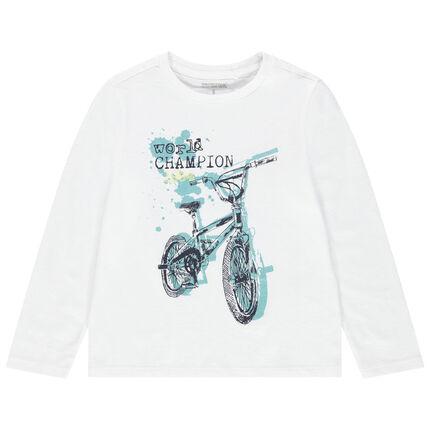 Μακρυμάνικη ζέρσεϊ μπλούζα με φαντεζί διακοσμητικό μοτίβο