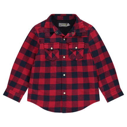 Φανελένιο καρό πουκάμισο με φλις επένδυση