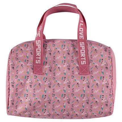Αθλητική τσάντα τύπου μπόουλινγκ με γεωμετρικό μοτίβο σε όλη την επιφάνεια