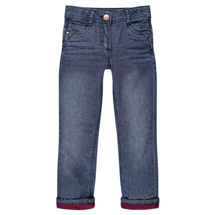 Junior - Jeans droit effet crinkle doublé jersey