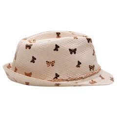 Καπέλο τύπου μπορσαλίνο με όψη ψάθας και χρυσαφί πεταλούδες