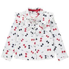Μακρυμάνικο πουκάμισο με βολάν και φιόγκους που κάνουν αντίθεση