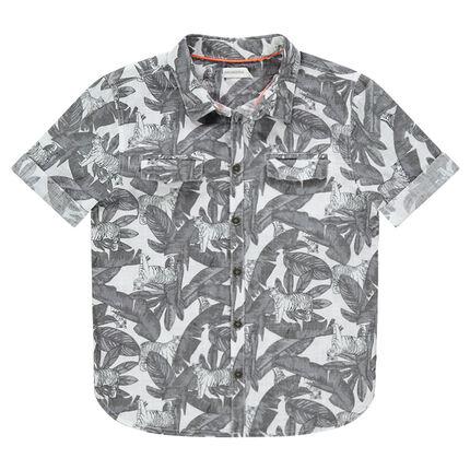 Παιδικά - Κοντομάνικο πουκάμισο με μοτίβο σε χαβανέζικο στιλ