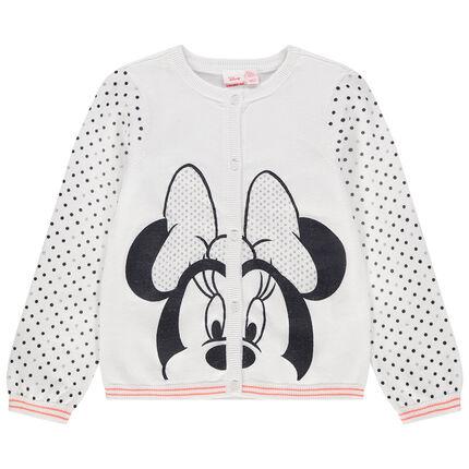 Πλεκτή ζακέτα με στάμπα τη Minnie της Disney και πουά μοτίβο