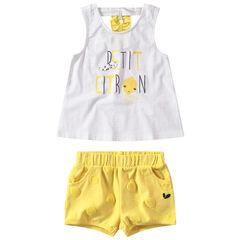 Σύνολο αμάνικη ζέρσεϊ μπλούζα με τυπωμένο μήνυμα και κίτρινη βερμούδα με πουά