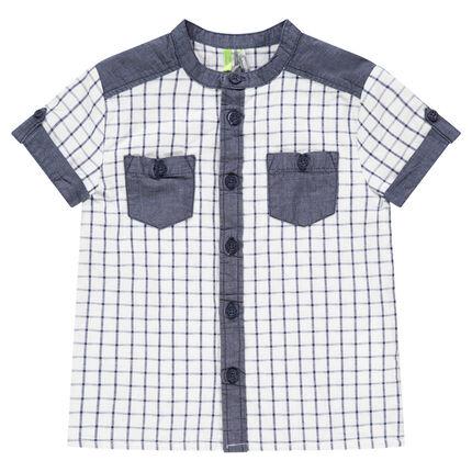 Κοντομάνικο πουκάμισο καρό με λεπτομέρειες σε ύφασμα chambray