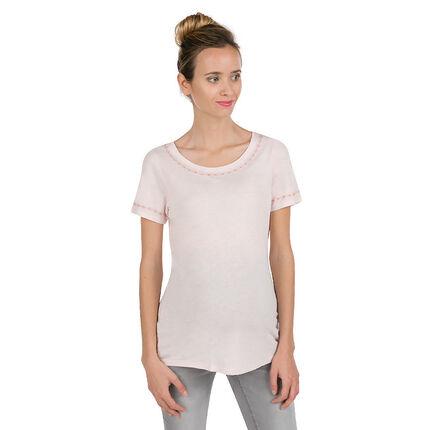 Κοντομάνικη μπλούζα εγκυμοσύνης με φίνα κεντήματα