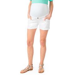 Σορτς εγκυμοσύνης από λευκό ντένιμ με φαρδιά φάσα στη μέση