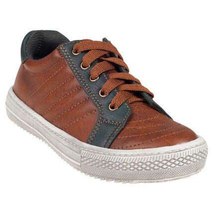 Baskets basses aspect cuir à lacets et zip