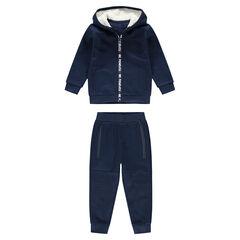 Φόρμα από φανέλα σε σκούρο μπλε με κουκούλα και επένδυση sherpa