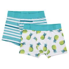 Παιδικά  - Σετ με 2 μποξεράκια με ρίγες που κάνουν αντίθεση και ανανάδες