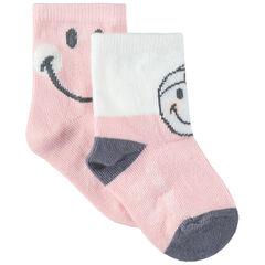 Σετ 2 ζευγάρια κάλτσες με ζακάρ μοτίβο Smiley
