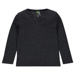Μακρυμάνικη κυψελωτή μπλούζα με λαιμόκοψη V με κουμπιά