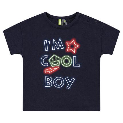 Κοντομάνικη μπλούζα από ζέρσεϊ με φράση με εφέ νέον