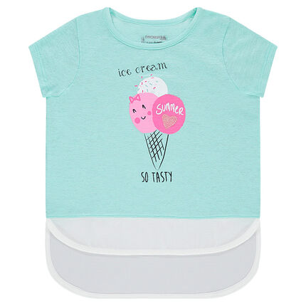 Κοντομάνικη μπλούζα με όψη 2 σε 1 και διακοσμητική στάμπα