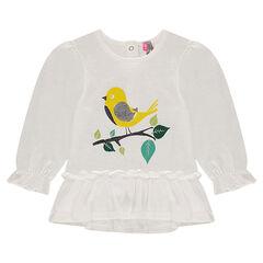 Μακρυμάνικη μπλούζα με βολάν, τυπωμένο πουλάκι και κεντημένα φύλλα