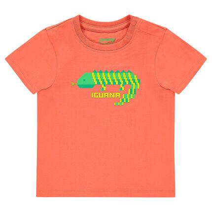Μονόχρωμη κοντομάνικη μπλούζα με φαντεζί τύπωμα