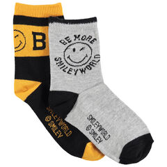 Παιδικά - Σετ 2 ζευγάρια ασορτί κάλτσες με μοτίβο Smiley