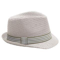 Καπέλο τύπου μπορσαλίνο με όψη ψάθινου καπέλου και ριγέ κορδέλα