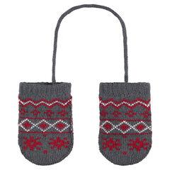 Πλεκτά γάντια με ενιαία παλάμη και ζακάρ μοτίβο