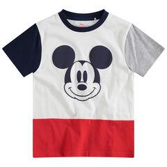 d7294b1ff70c Τρίχρωμη κοντομάνικη μπλούζα με στάμπα Μίκυ της ©Disney