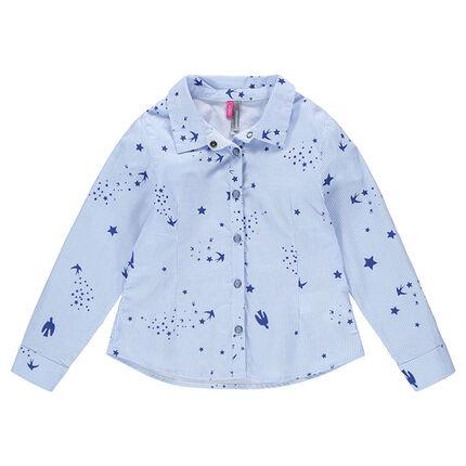Μακρυμάνικο πουκάμισο με λεπτές ρίγες και τυπωμένα μοτίβα