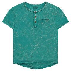 Κοντομάνικη μπλούζα με στρογγυλή λαιμόκοψη με κουμπάκια